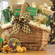 productEnrich this Raksha Bandhan with memories by gifting this amazing pack of gourmet goodies. Put together well in a nice basket are the finest treats to feast, including Toasted Praline Coffee, Chocolate Wafer Rolls, French Herb Cheese Mix, Fancy Water Crackers, Dutch Gouda Cheese Biscuits, Smoked Almonds, Cashew Brittle, Belgian Chocolates, Mixed Fruit Candies, Cheese Lover's Pub Mix, Golden Walnut Caramel Cookies, Sisters Green Tea and non-alcoholic Sparkling Apple Cider. (Please Note That We Reserve The Right To Substitute Any Product With A Suitable Product Of Equal Value In Case Of Non-Availability Of A Certain Product)