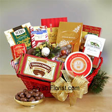 productJust like relationships, that are bitter sweet, we have this charming collection of sweet and savory for all your exceptional guests. We include crackers, cheese, Cashew Roca, truffle cookies, mocha almonds, chocolate chip cookies, Lindt truffles, Ghirardelli almond chocolate bar, and English tea cookies in a beautiful red colored basket that is embellished with holiday green and lovely contrasting bow, just to add to the festive mood. Enjoy this pack and enhance your celebration this year! (Please Note That We Reserve the Right to Substitute any Product with a Suitable Product of Equal Value in Case of Non-Availability of a Certain Product)