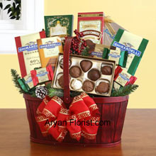 productPacked in a stupendous way, the split wood handle basket is presented to you to savor the wonderful chocolates. These are put together in this basket to bring the smile to your receiver's face and the beam will enlighten your life too. This red colored basket is decorated with a ribbon bow and contains two gift bags of Ghirardelli squares (mint chocolate & dark chocolate), truffle cookies, a caramel chocolate bar, hot cocoa mix, and an assortment of Ghirardelli chocolate squares. (Please Note That We Reserve the Right to Substitute any Product with a Suitable Product of Equal Value in Case of Non-Availability of a Certain Product)