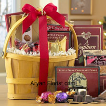 productThe profusion of the variety of chocolates to discern your receiver's romantic temperament, this basket is just an apt way as it includes Italian Chocolate Truffles, crunchy Almond Roca, a White Chocolate Amaretto Wafers, Chocolate Fudge, creamy rich Milk Chocolate, Belgian Chocolates, and assorted individually-wrapped Godiva Chocolates. A very well packed basket that comes to you as a souvenir along with the delectable sweet chocolates, leading you to a pavilion to enjoy your relationship status more than before. (Please Note That We Reserve the Right to Substitute any Product with a Suitable Product of Equal Value in Case of Non-Availability of a Certain Product)