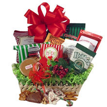 productDecorated with a lush green tree, indicating the beginning of festivities, welcome this festive season with this pack of peanuts, fudge, pretzels, cheddar biscuits, cookies, snack mix, peanut brittle, sprinkled pretzels, Christmas popcorn, and chocolate filled peppermints. Enjoy these scrumptious treats until Christmas and enjoy them with a cup of hot chocolate on a cold winter evening, reminiscing the past, forecasting the future, and most certainly enjoying the present. That is what we call life full of memories that strengthen with each passing Christmas. (Please Note That We Reserve the Right to Substitute any Product with a Suitable Product of Equal Value in Case of Non-Availability of a Certain Product)
