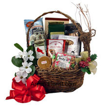 Gain serendipity with this basket that enunciates nothing but love. It has items such as peanuts, snack mix, Christmas popcorn, fudge, cheese straws, peanut bar, chips and coffee that enhances your celebration. This basket is prepared with the same love as that of a mother and child that reflects heights of selflessness, sanctity and pure bliss, without any expectation in return. So, enjoy your evening and the Christmas Eve with these goodies. (Please Note That We Reserve the Right to Substitute any Product with a Suitable Product of Equal Value in Case of Non-Availability of a Certain Product)