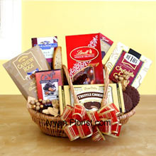 productThis ineffable basket of chocolates will satiate the sweet lover to the core. Indulgence into these chocolates will leave you wanting for more as it is a stimulant that you will want forever. This basket is full of such chocolates that may otherwise be not available in the market and specially sourced to make your occasion more eventful. This marvelous basket includes Beth's chocolate chip cookies, English toffee, Chocolate truffle cookies, biscotti, Lindt truffles, Cashew Roca and a Ghirardelli chocolate bar to appease the sweet tooth. (Please Note That We Reserve the Right to Substitute any Product with a Suitable Product of Equal Value in Case of Non-Availability of a Certain Product)
