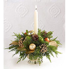 productThe quintessential holiday greens decorated with Assorted Flowers and a white taper candle completes the festivities. This centerpiece will accentuate the beauty of your table and each time you glance at it, you will be praised for this supreme, perfect in size, arrangement. This will also raise the glow for the season and will look breathtakingly amazing, enriching your room with sparkling embellishments. Welcome this centerpiece with positivity and adorn your table and room on this festive season. (Please Note That We Reserve the Right to Substitute any Product with a Suitable Product of Equal Value in Case of Non-Availability of a Certain Product)